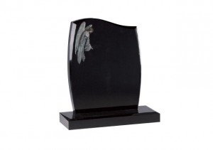 Black granite headstone with etched and painted overlooking angel