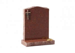 Ruby Red granite headstone with optional bronze cross ornamentation