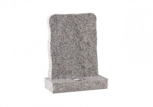 Light Grey granite headstone with pitched edge