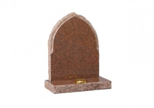 Balmoral Red granite memorial with pointed top and pitches sides