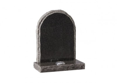 Dark Grey granite memorial with pitched side and matching margin