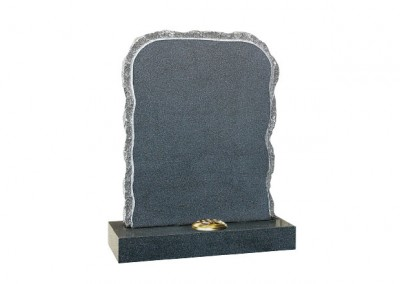 Dark Grey granite rustic memorial with pitched sides.