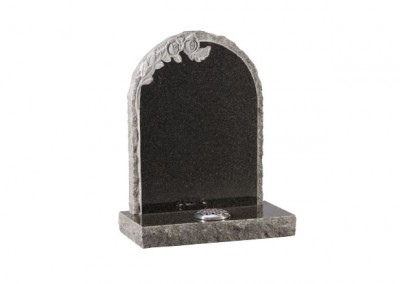 Dark Grey granite headstone with carved roses and pitched edges