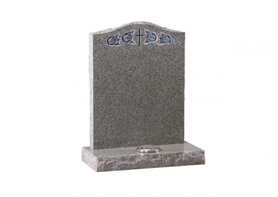 Light Grey granite headstone with carved and highlighted cross and roses