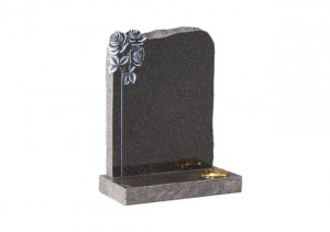 Dark Grey granite headstone with carved and highlighted roses