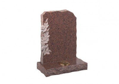 Balmoral Red granite headstone with carved roses on left