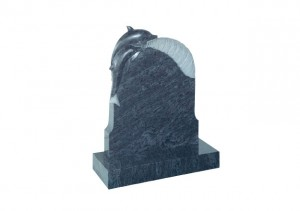 Bahama Blue granite headstone with carved dolphin on a wave