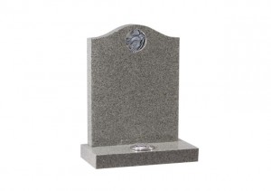 Karin light grey granite headstone with carved and highlighted dove