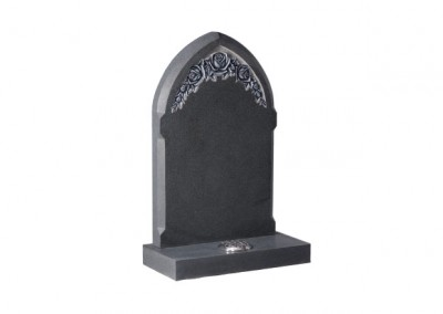 Dark Grey granite headstone with deep carved and highlighted roses