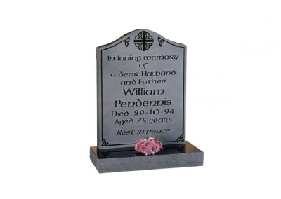 Black granite headstone with polished inscription