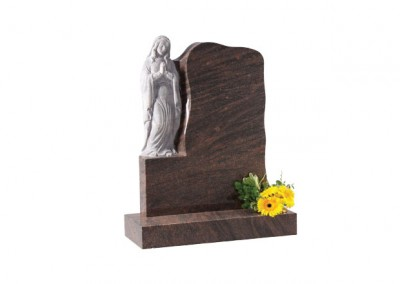 Twilight Red granite headstone with carved 'Our Lady' praying figure