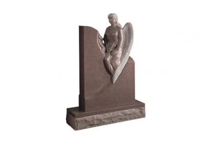 Ruby Red granite headstone with carved angel memorial