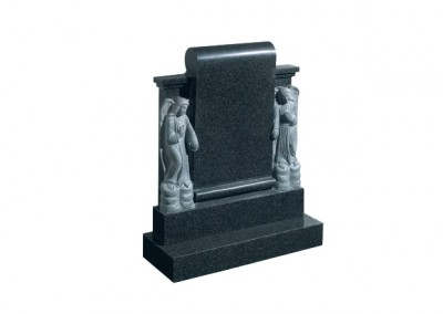 Dark Grey granite headstone with two carved angels either side of a scroll