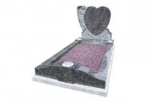 Bahama Blue granite memorial with carved angel, heart and roses