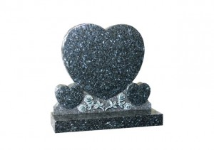 Blue Pearl granite memorial with triple heart and hand carved roses