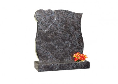 Bahama Blue granite with curved sides and polished heart in top corner
