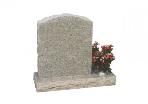 Light Grey granite headstone with pitched side and off-set container.