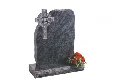 Bahama Blue granite headstone with a rustic deep carved celtic cross.