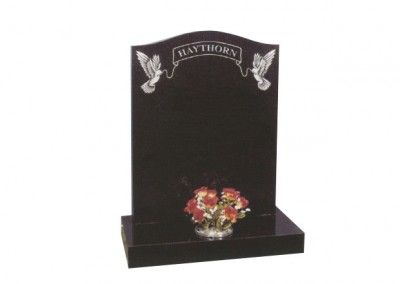 Black granite headstone with fine etched dove & ribbon design