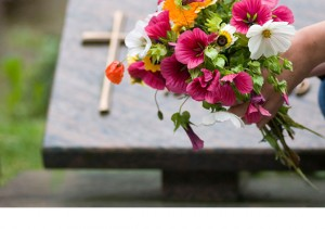 Flowers in churchyard